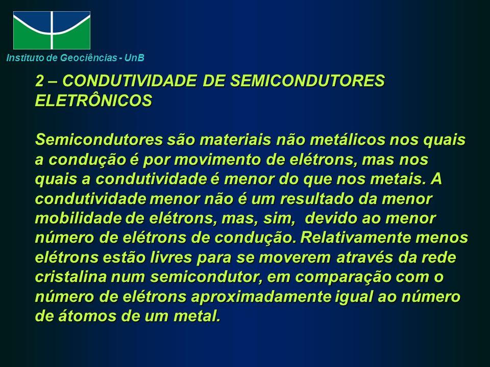2 – CONDUTIVIDADE DE SEMICONDUTORES ELETRÔNICOS Semicondutores são materiais não metálicos nos quais a condução é por movimento de elétrons, mas nos quais a condutividade é menor do que nos metais.