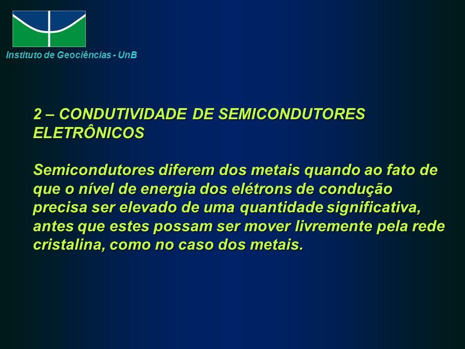 2 – CONDUTIVIDADE DE SEMICONDUTORES ELETRÔNICOS Semicondutores diferem dos metais quando ao fato de que o nível de energia dos elétrons de condução precisa ser elevado de uma quantidade significativa, antes que estes possam ser mover livremente pela rede cristalina, como no caso dos metais.