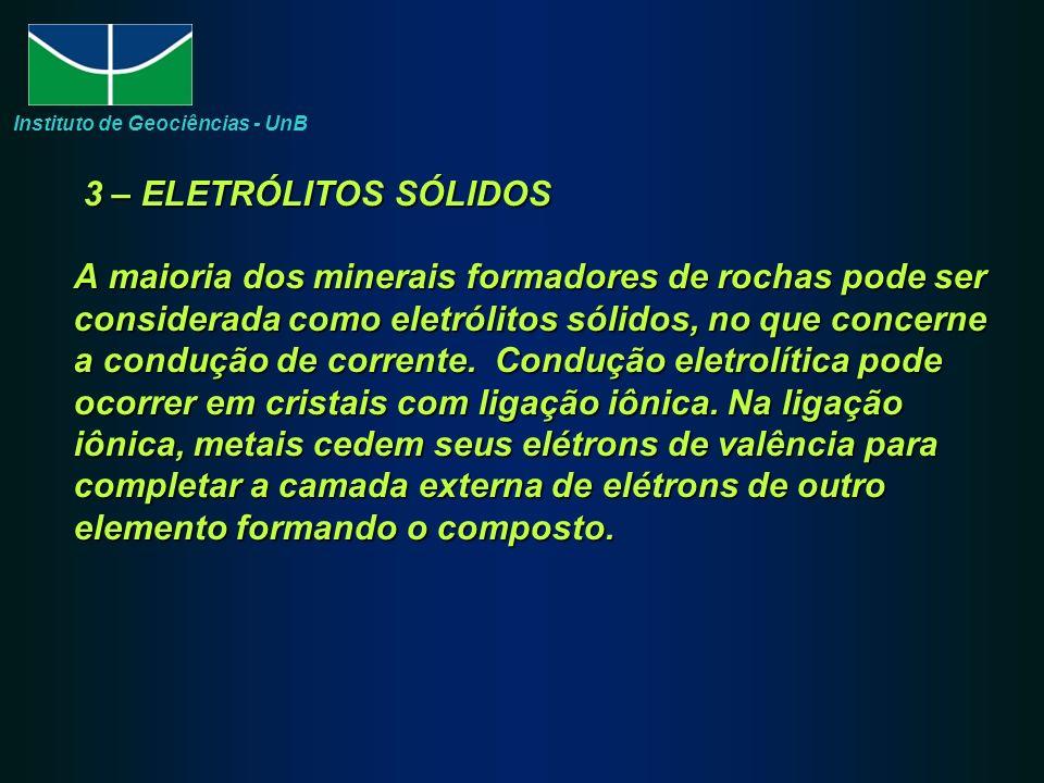 3 – ELETRÓLITOS SÓLIDOS A maioria dos minerais formadores de rochas pode ser considerada como eletrólitos sólidos, no que concerne a condução de corrente.