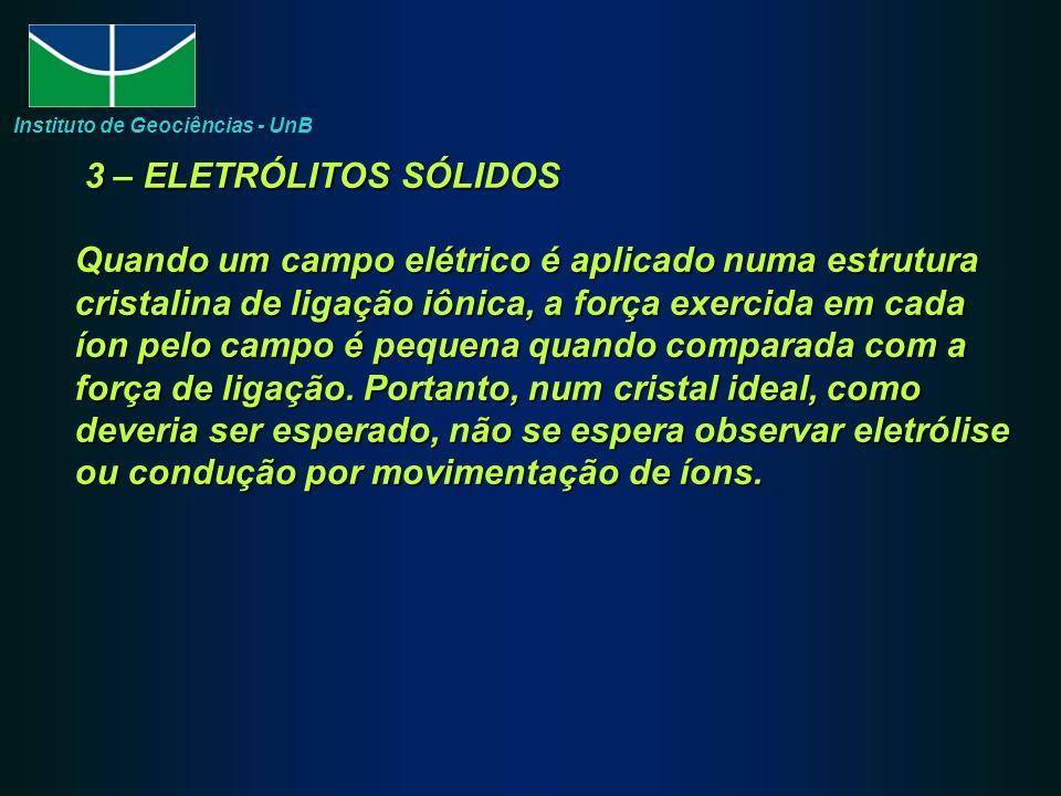 3 – ELETRÓLITOS SÓLIDOS Quando um campo elétrico é aplicado numa estrutura cristalina de ligação iônica, a força exercida em cada íon pelo campo é pequena quando comparada com a força de ligação.