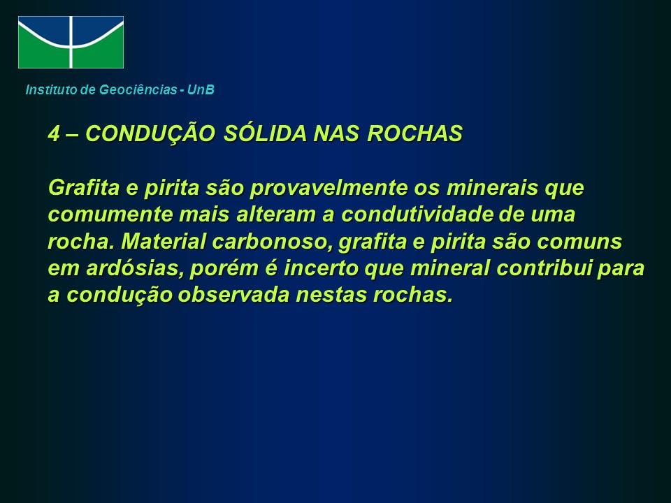4 – CONDUÇÃO SÓLIDA NAS ROCHAS Grafita e pirita são provavelmente os minerais que comumente mais alteram a condutividade de uma rocha.