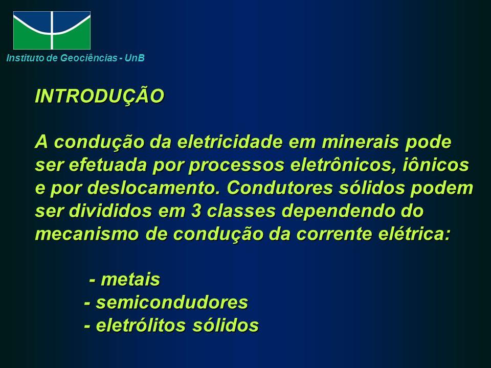 INTRODUÇÃO A condução da eletricidade em minerais pode ser efetuada por processos eletrônicos, iônicos e por deslocamento.