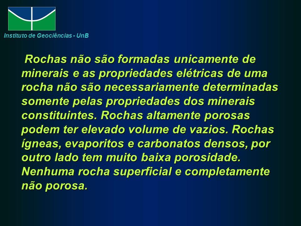 Rochas não são formadas unicamente de minerais e as propriedades elétricas de uma rocha não são necessariamente determinadas somente pelas propriedades dos minerais constituintes.