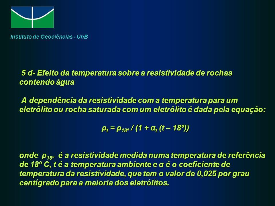 5 d- Efeito da temperatura sobre a resistividade de rochas contendo água A dependência da resistividade com a temperatura para um eletrólito ou rocha saturada com um eletrólito é dada pela equação: ρ t = ρ 18º / (1 + α t (t – 18º)) onde ρ 18º é a resistividade medida numa temperatura de referência de 18º C, t é a temperatura ambiente e α é o coeficiente de temperatura da resistividade, que tem o valor de 0,025 por grau centígrado para a maioria dos eletrólitos.