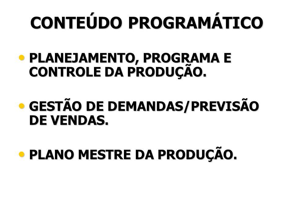 CONTEÚDO PROGRAMÁTICO PLANEJAMENTO, PROGRAMA E CONTROLE DA PRODUÇÃO. PLANEJAMENTO, PROGRAMA E CONTROLE DA PRODUÇÃO. GESTÃO DE DEMANDAS/PREVISÃO DE VEN