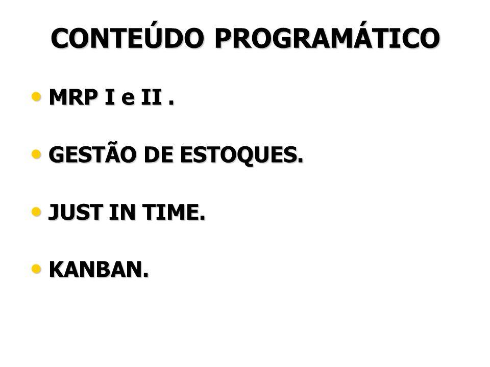 CONTEÚDO PROGRAMÁTICO MRP I e II.MRP I e II. GESTÃO DE ESTOQUES.