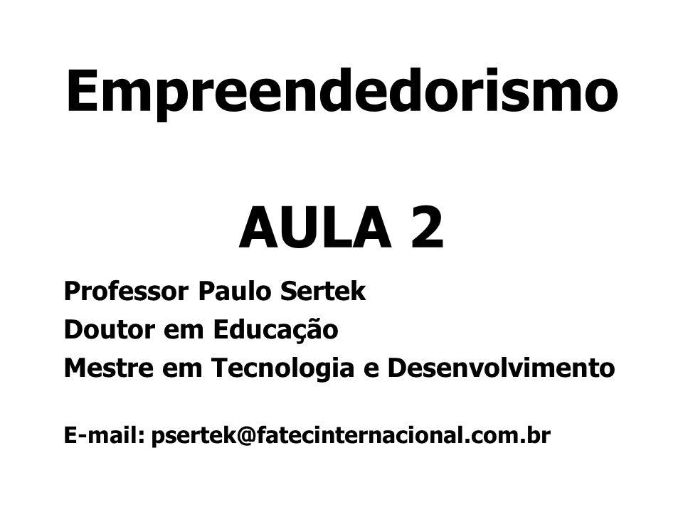 Empreendedorismo AULA 2 Professor Paulo Sertek Doutor em Educação Mestre em Tecnologia e Desenvolvimento E-mail: psertek@fatecinternacional.com.br