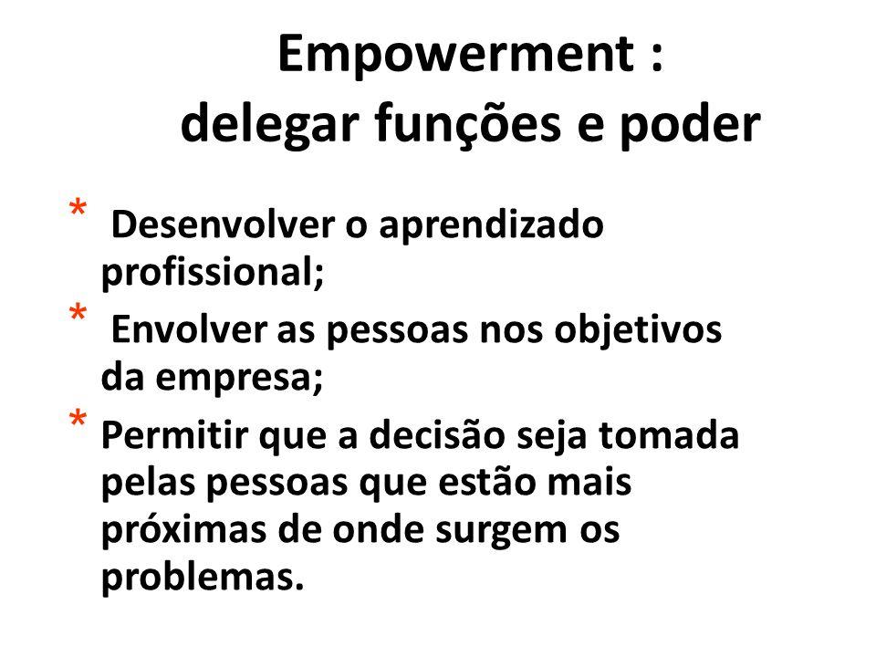 Empowerment : delegar funções e poder * Desenvolver o aprendizado profissional; * Envolver as pessoas nos objetivos da empresa; * Permitir que a decis