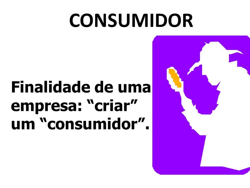 CONSUMIDOR Finalidade de uma empresa: criar um consumidor.
