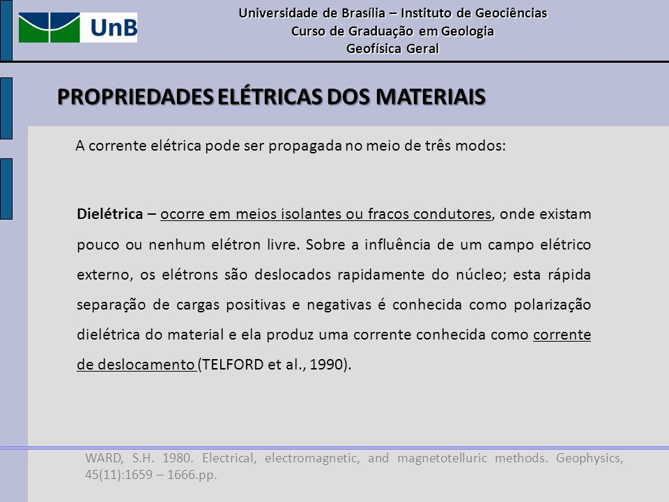 WARD, S.H. 1980. Electrical, electromagnetic, and magnetotelluric methods. Geophysics, 45(11):1659 – 1666.pp. Dielétrica – ocorre em meios isolantes o