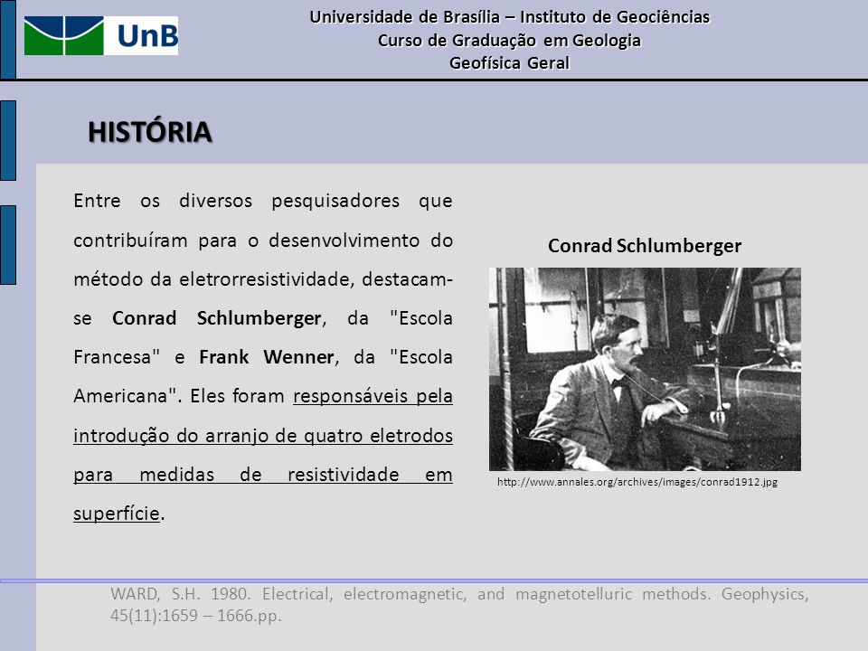 HISTÓRIA WARD, S.H. 1980. Electrical, electromagnetic, and magnetotelluric methods. Geophysics, 45(11):1659 – 1666.pp. Entre os diversos pesquisadores