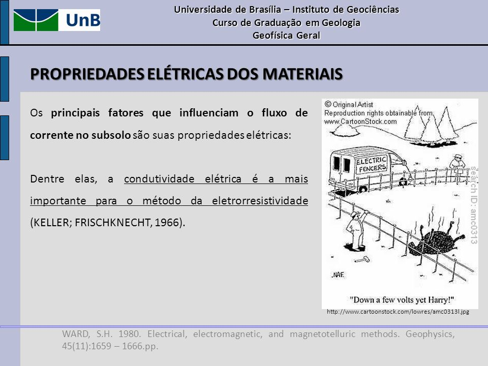PROPRIEDADES ELÉTRICAS DOS MATERIAIS WARD, S.H. 1980. Electrical, electromagnetic, and magnetotelluric methods. Geophysics, 45(11):1659 – 1666.pp. Os
