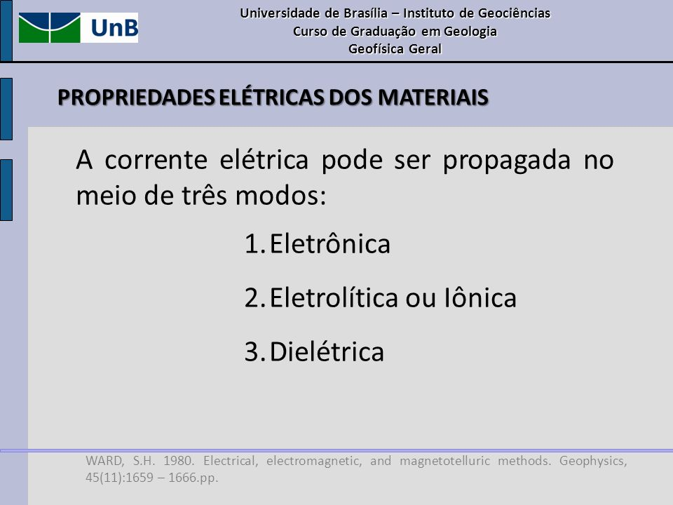 PROPRIEDADES ELÉTRICAS DOS MATERIAIS WARD, S.H. 1980. Electrical, electromagnetic, and magnetotelluric methods. Geophysics, 45(11):1659 – 1666.pp. A c