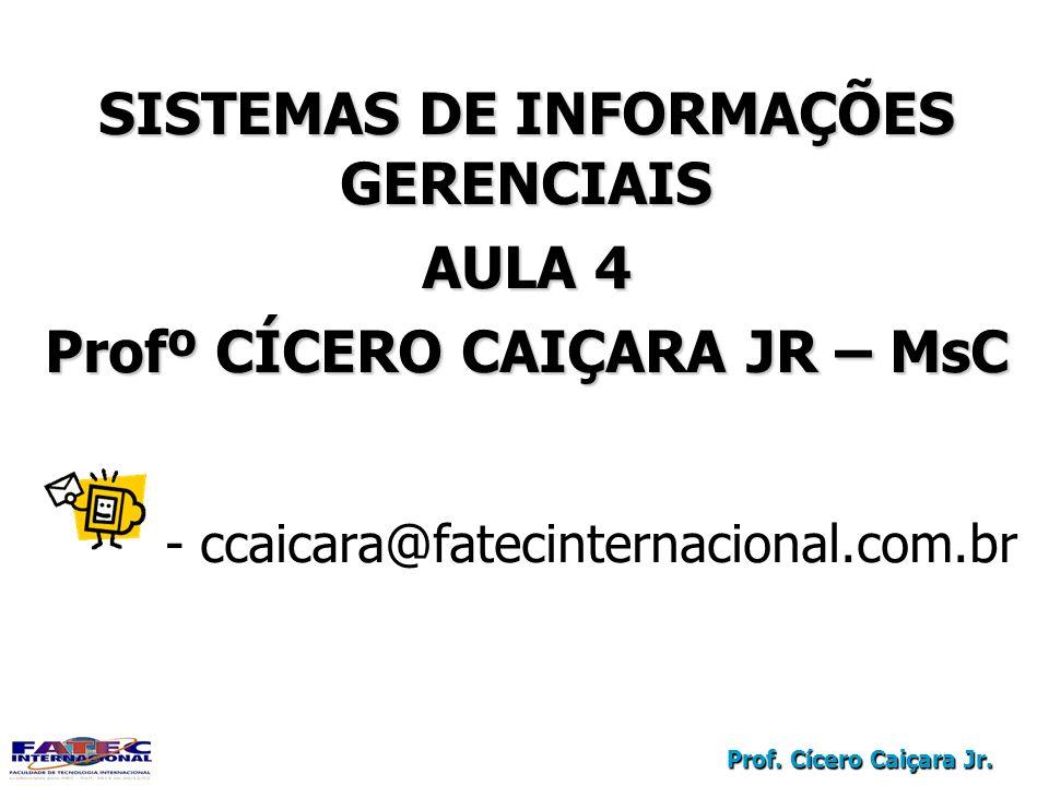Prof. Cícero Caiçara Jr. SISTEMAS DE INFORMAÇÕES GERENCIAIS AULA 4 Profº CÍCERO CAIÇARA JR – MsC - ccaicara@fatecinternacional.com.br SISTEMAS DE INFO
