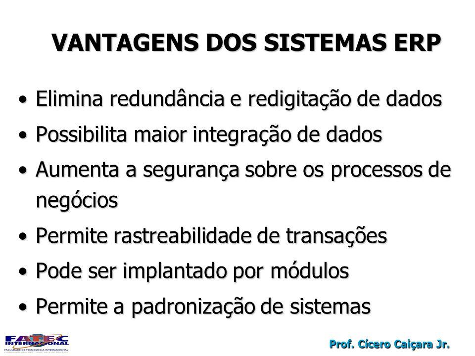 Prof. Cícero Caiçara Jr. VANTAGENS DOS SISTEMAS ERP Elimina redundância e redigitação de dadosElimina redundância e redigitação de dados Possibilita m