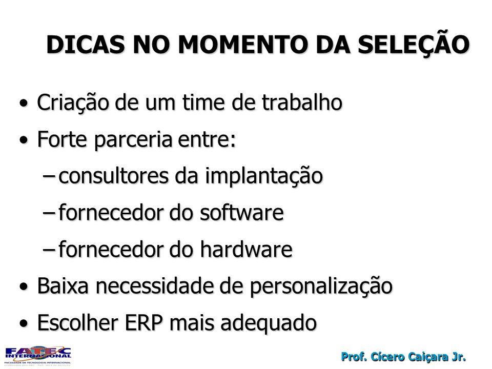 Prof. Cícero Caiçara Jr. DICAS NO MOMENTO DA SELEÇÃO Criação de um time de trabalhoCriação de um time de trabalho Forte parceria entre:Forte parceria