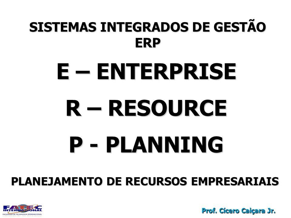 Prof. Cícero Caiçara Jr. SISTEMAS INTEGRADOS DE GESTÃO ERP ERP E – ENTERPRISE R – RESOURCE P - PLANNING E – ENTERPRISE R – RESOURCE P - PLANNING PLANE
