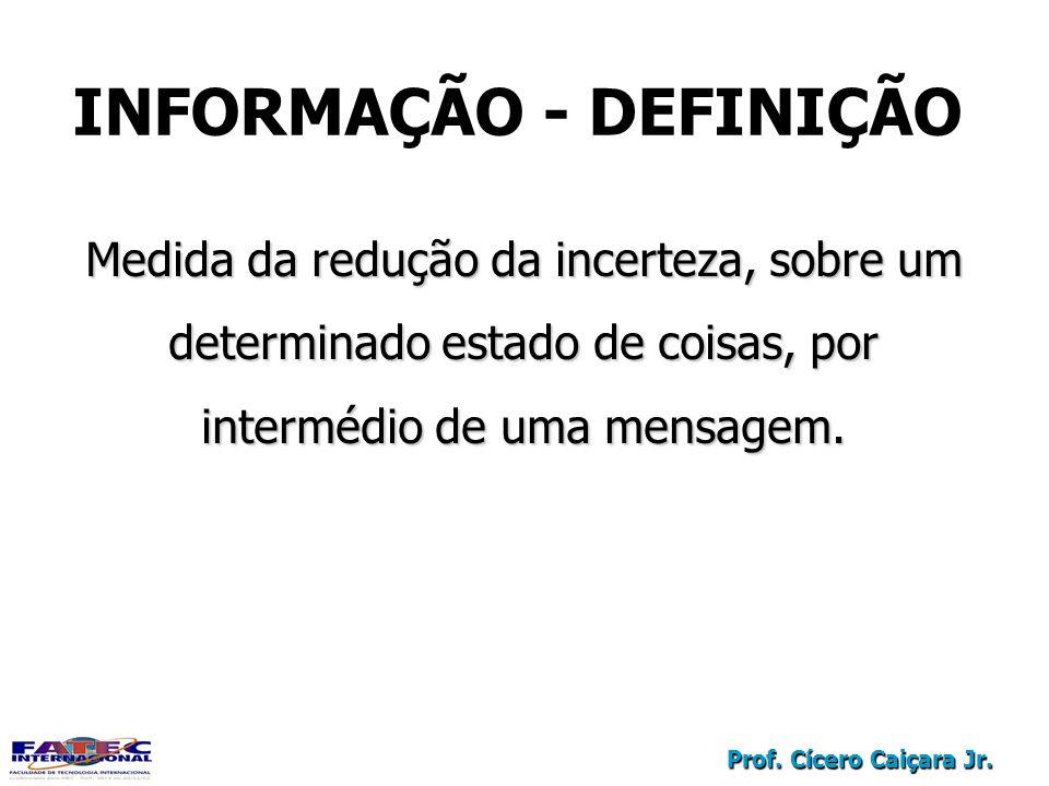 Prof. Cícero Caiçara Jr. Medida da redução da incerteza, sobre um determinado estado de coisas, por intermédio de uma mensagem. INFORMAÇÃO - DEFINIÇÃO