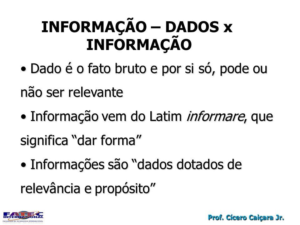 Prof. Cícero Caiçara Jr. Dado é o fato bruto e por si só, pode ou não ser relevante Dado é o fato bruto e por si só, pode ou não ser relevante Informa