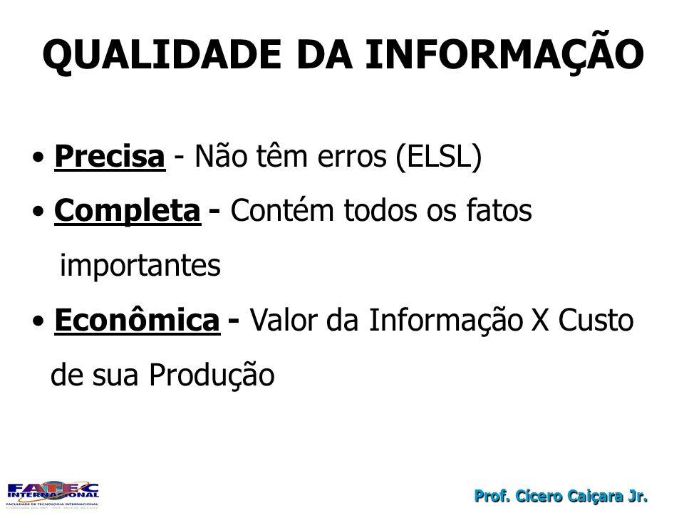 Prof. Cícero Caiçara Jr. QUALIDADE DA INFORMAÇÃO Precisa - Não têm erros (ELSL) Completa - Contém todos os fatos importantes Econômica - Valor da Info