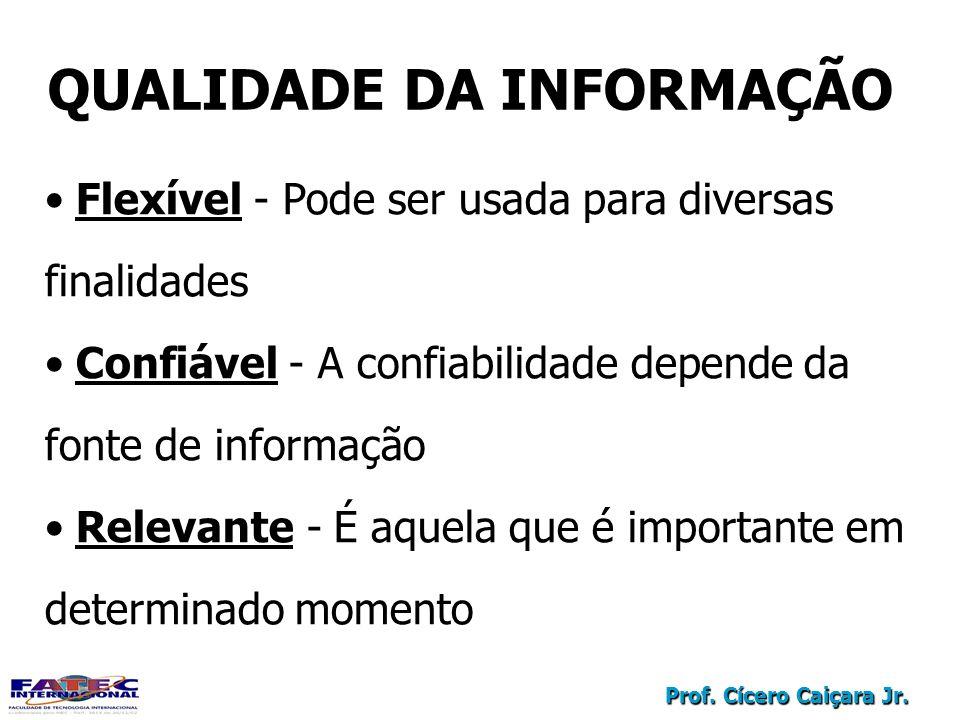 Prof. Cícero Caiçara Jr. QUALIDADE DA INFORMAÇÃO Flexível - Pode ser usada para diversas finalidades Confiável - A confiabilidade depende da fonte de
