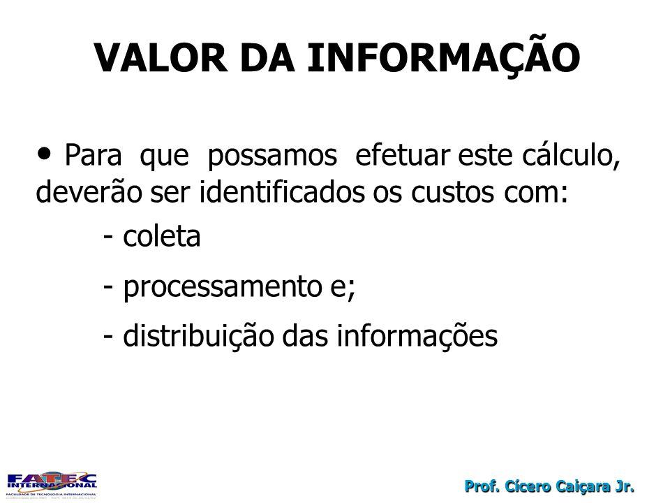 Prof. Cícero Caiçara Jr. VALOR DA INFORMAÇÃO Para que possamos efetuar este cálculo, deverão ser identificados os custos com: - coleta - processamento