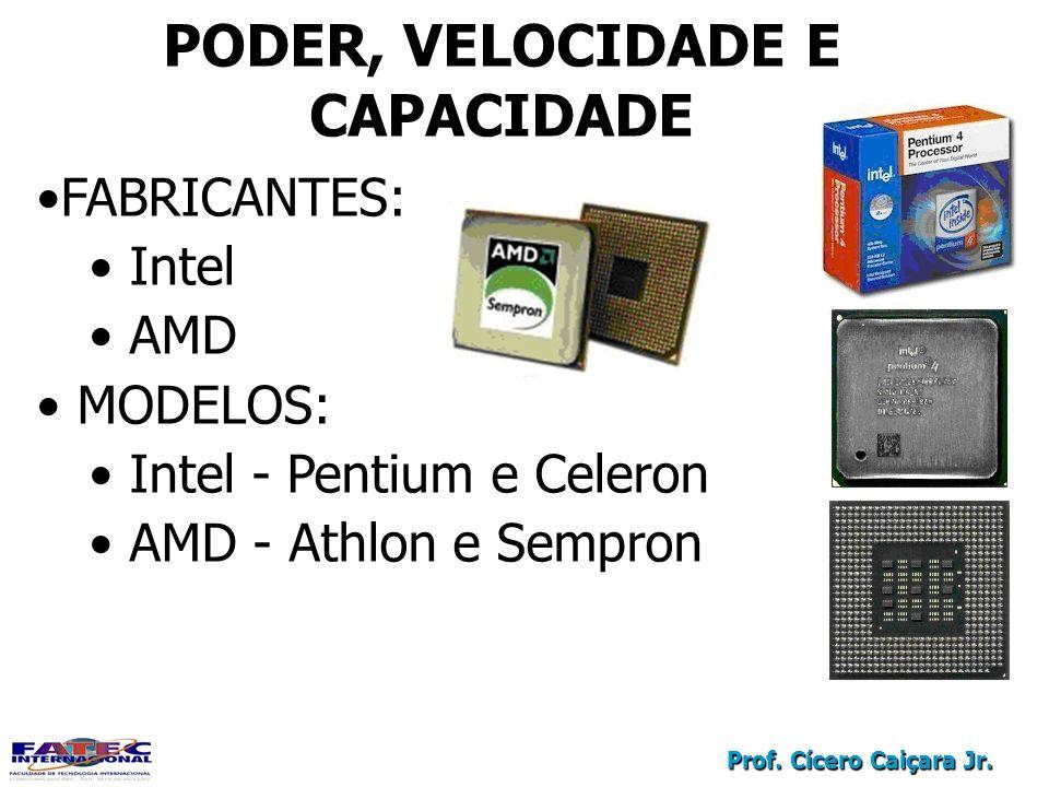 Prof. Cícero Caiçara Jr. PODER, VELOCIDADE E CAPACIDADE FABRICANTES: Intel AMD MODELOS: Intel - Pentium e Celeron AMD - Athlon e Sempron