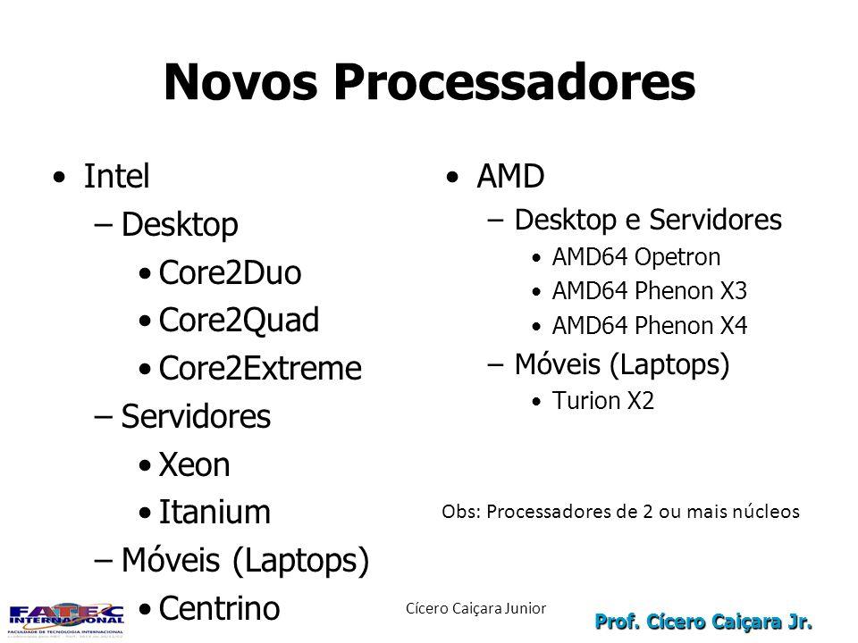 Prof. Cícero Caiçara Jr. Novos Processadores Intel –Desktop Core2Duo Core2Quad Core2Extreme –Servidores Xeon Itanium –Móveis (Laptops) Centrino AMD –D