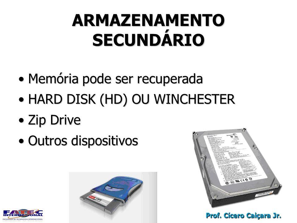 Prof. Cícero Caiçara Jr. ARMAZENAMENTO SECUNDÁRIO Memória pode ser recuperada Memória pode ser recuperada HARD DISK (HD) OU WINCHESTER HARD DISK (HD)