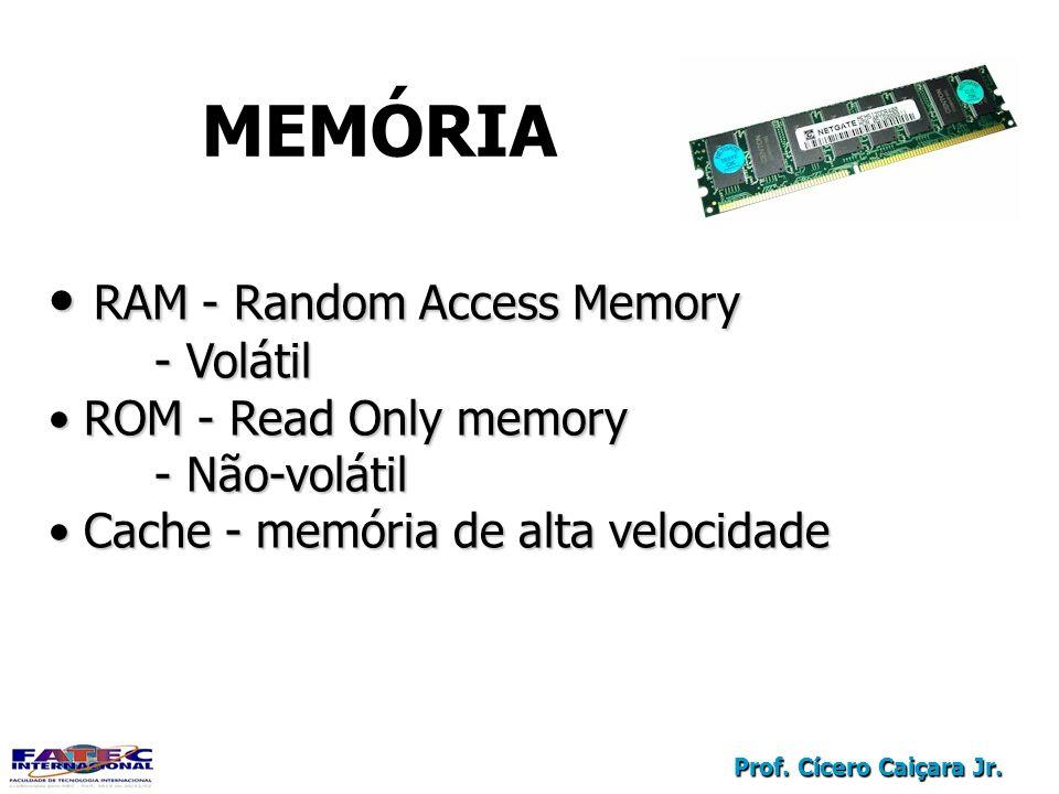 Prof. Cícero Caiçara Jr. MEMÓRIA RAM - Random Access Memory RAM - Random Access Memory - Volátil ROM - Read Only memory ROM - Read Only memory - Não-v