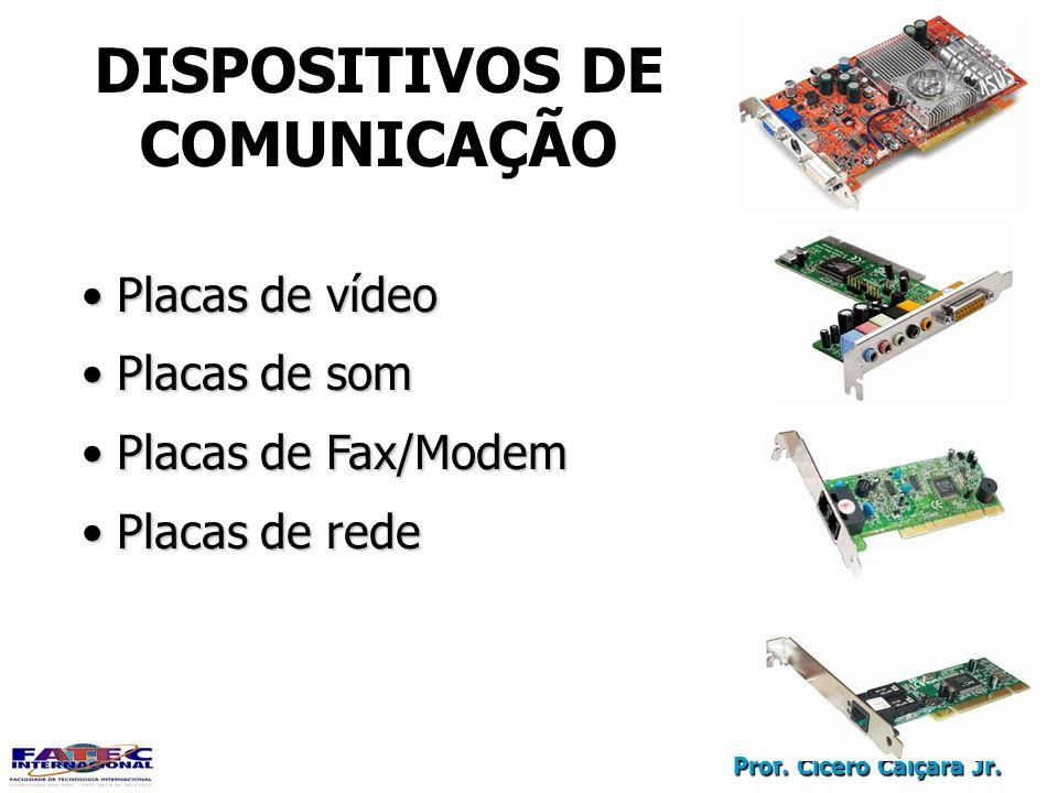 Prof. Cícero Caiçara Jr. DISPOSITIVOS DE COMUNICAÇÃO Placas de vídeo Placas de vídeo Placas de som Placas de som Placas de Fax/Modem Placas de Fax/Mod