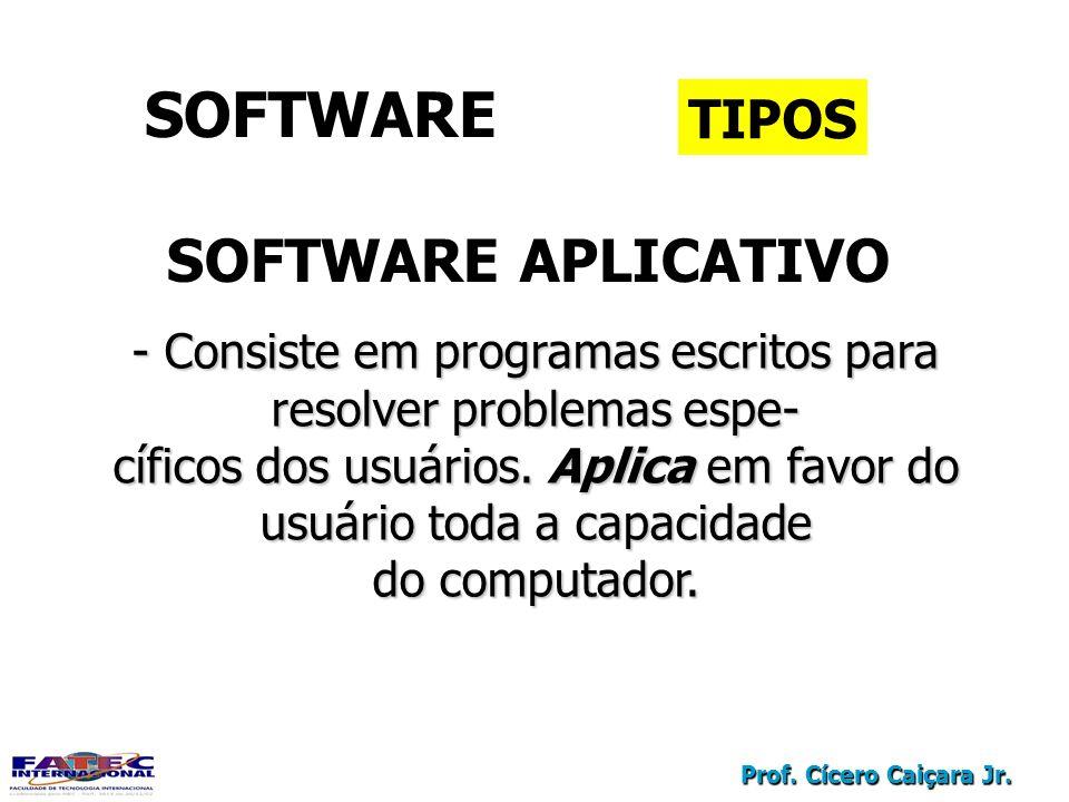 Prof. Cícero Caiçara Jr. SOFTWARE TIPOS SOFTWARE APLICATIVO - Consiste em programas escritos para resolver problemas espe- cíficos dos usuários. Aplic