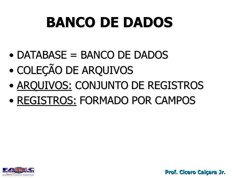 Prof. Cícero Caiçara Jr. DATABASE = BANCO DE DADOS DATABASE = BANCO DE DADOS COLEÇÃO DE ARQUIVOS COLEÇÃO DE ARQUIVOS ARQUIVOS: CONJUNTO DE REGISTROS A