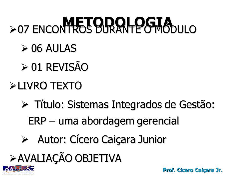 Prof. Cícero Caiçara Jr. METODOLOGIA 07 ENCONTROS DURANTE O MÓDULO 07 ENCONTROS DURANTE O MÓDULO 06 AULAS 06 AULAS 01 REVISÃO 01 REVISÃO LIVRO TEXTO L