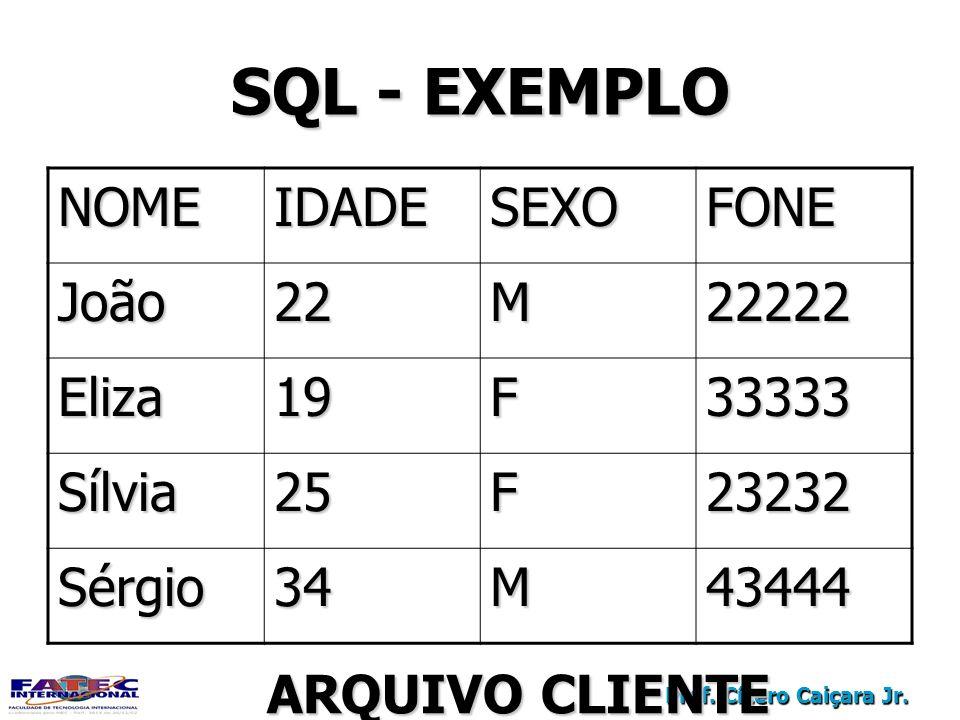 Prof. Cícero Caiçara Jr. SQL - EXEMPLO NOMEIDADESEXOFONE João22M22222 Eliza19F33333 Sílvia25F23232 Sérgio34M43444 ARQUIVO CLIENTE