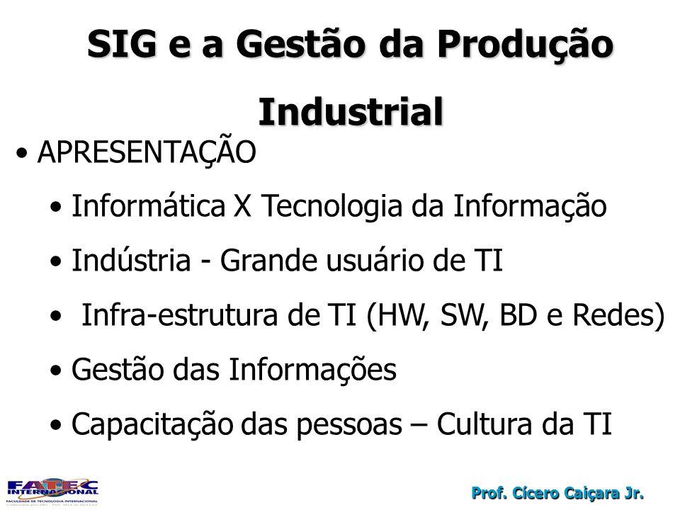 Prof. Cícero Caiçara Jr. SIG e a Gestão da Produção Industrial APRESENTAÇÃO Informática X Tecnologia da Informação Indústria - Grande usuário de TI In