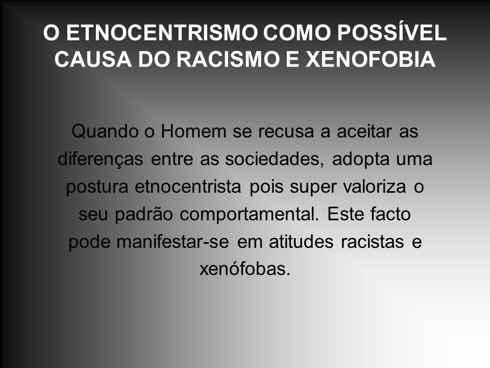 O ETNOCENTRISMO COMO POSSÍVEL CAUSA DO RACISMO E XENOFOBIA Quando o Homem se recusa a aceitar as diferenças entre as sociedades, adopta uma postura et