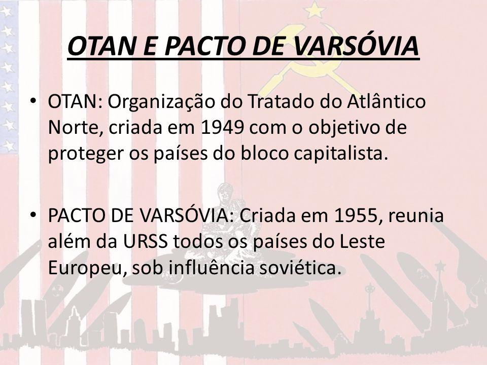 OTAN E PACTO DE VARSÓVIA OTAN: Organização do Tratado do Atlântico Norte, criada em 1949 com o objetivo de proteger os países do bloco capitalista. PA