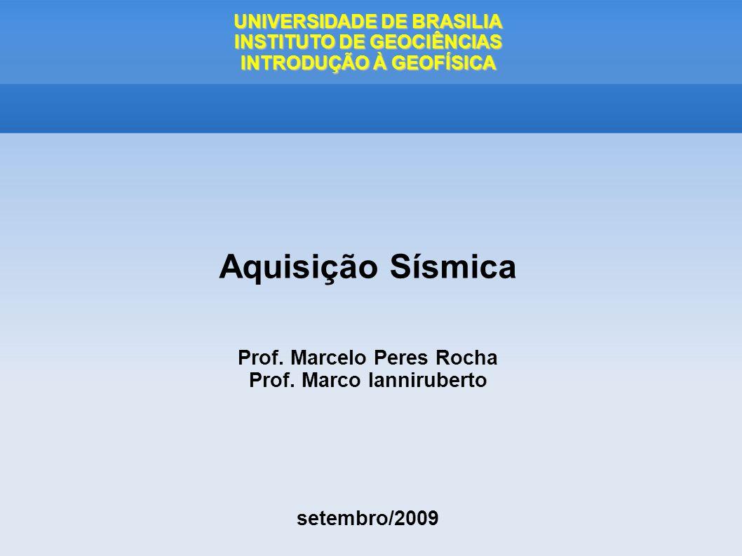 UNIVERSIDADE DE BRASILIA INSTITUTO DE GEOCIÊNCIAS INTRODUÇÃO À GEOFÍSICA Aquisição Sísmica Prof. Marcelo Peres Rocha Prof. Marco Ianniruberto setembro