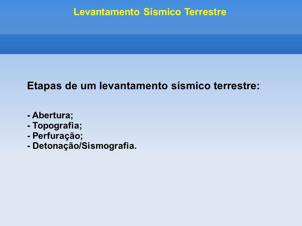 Etapas de um levantamento sísmico terrestre: - Abertura; - Topografia; - Perfuração; - Detonação/Sismografia. Levantamento Sísmico Terrestre