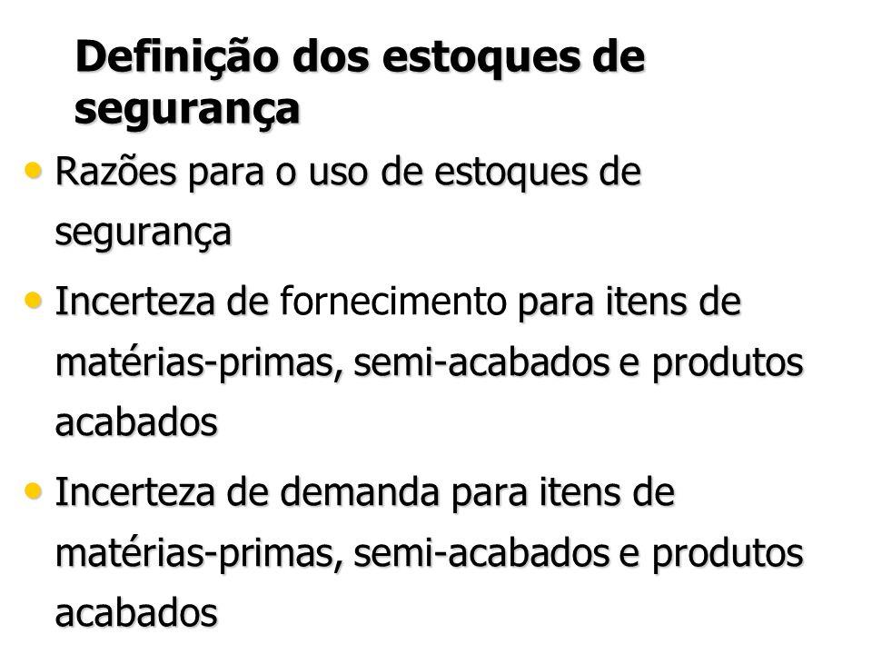 Definição dos estoques de segurança Razões para o uso de estoques de segurança Razões para o uso de estoques de segurança Incerteza de para itens de m