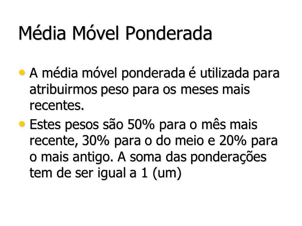 Média Móvel Ponderada A média móvel ponderada é utilizada para atribuirmos peso para os meses mais recentes. A média móvel ponderada é utilizada para