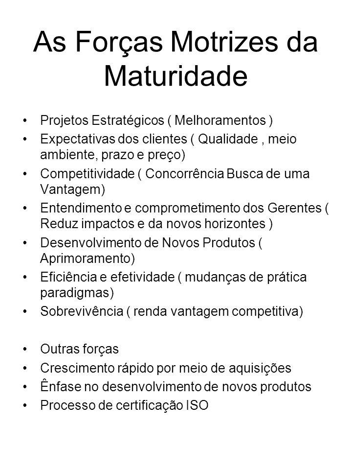 As Forças Motrizes da Maturidade Projetos Estratégicos ( Melhoramentos ) Expectativas dos clientes ( Qualidade, meio ambiente, prazo e preço) Competit