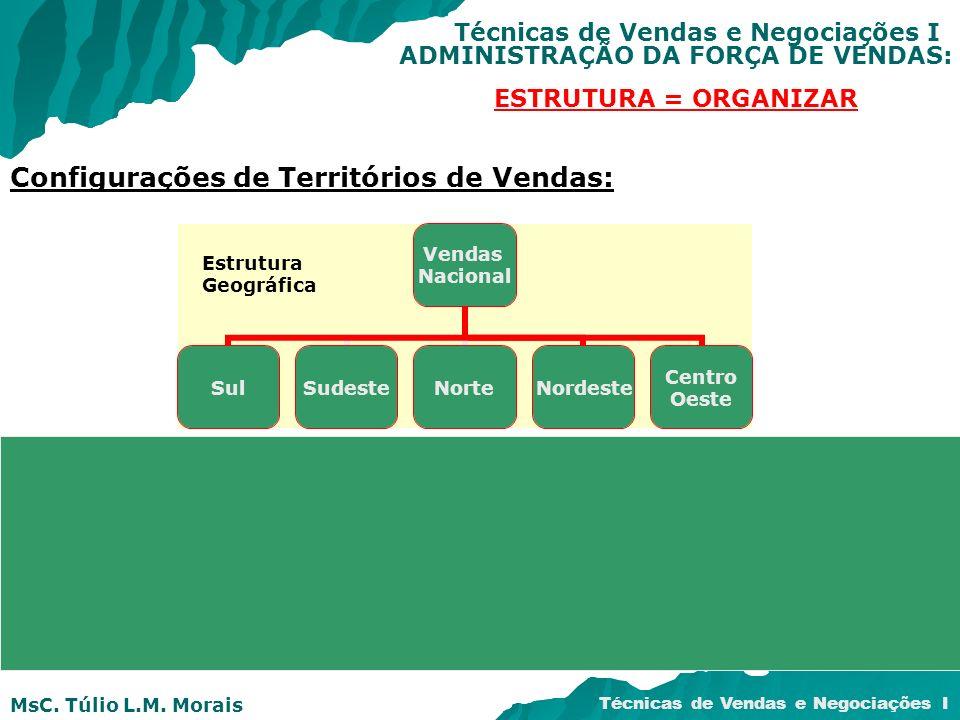 MsC. Túlio L.M. Morais Técnicas de Vendas e Negociações I ADMINISTRAÇÃO DA FORÇA DE VENDAS: ESTRUTURA = ORGANIZAR Configurações de Territórios de Vend