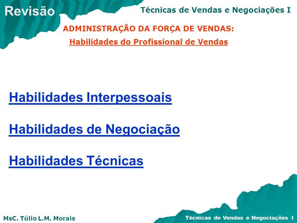 MsC. Túlio L.M. Morais Técnicas de Vendas e Negociações I Habilidades Interpessoais Habilidades de Negociação Habilidades Técnicas ADMINISTRAÇÃO DA FO
