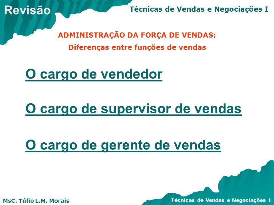 MsC. Túlio L.M. Morais Técnicas de Vendas e Negociações I ADMINISTRAÇÃO DA FORÇA DE VENDAS: Diferenças entre funções de vendas O cargo de vendedor O c
