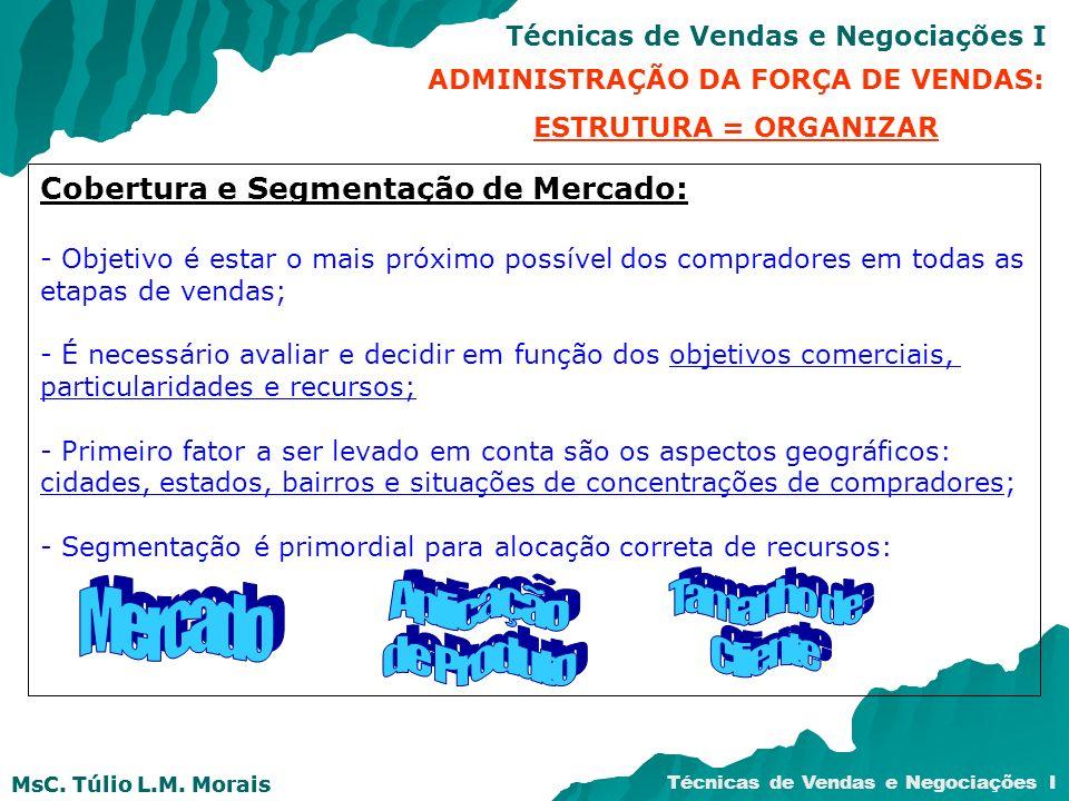 MsC. Túlio L.M. Morais Técnicas de Vendas e Negociações I MsC. Túlio L.M. Morais Cobertura e Segmentação de Mercado: - Objetivo é estar o mais próximo