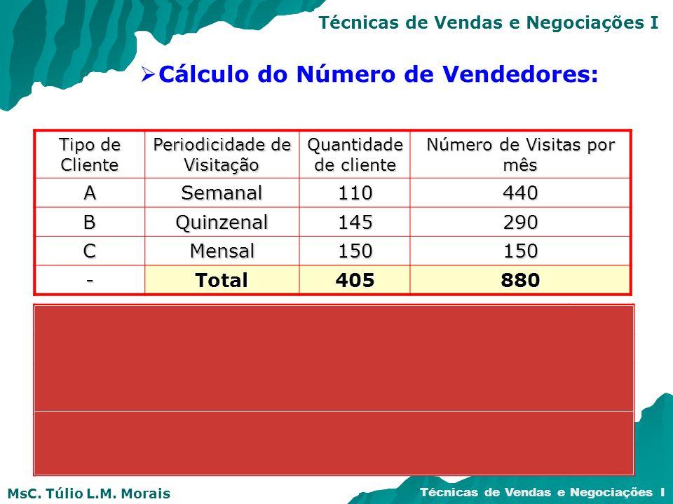 MsC. Túlio L.M. Morais Técnicas de Vendas e Negociações I Cálculo do Número de Vendedores: Tipo de Cliente Periodicidade de Visitação Quantidade de cl
