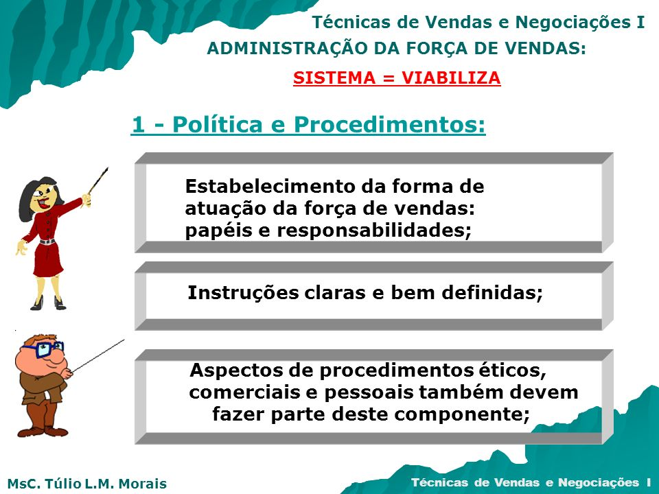 MsC. Túlio L.M. Morais Técnicas de Vendas e Negociações I ADMINISTRAÇÃO DA FORÇA DE VENDAS: SISTEMA = VIABILIZA 1 - Política e Procedimentos: Estabele