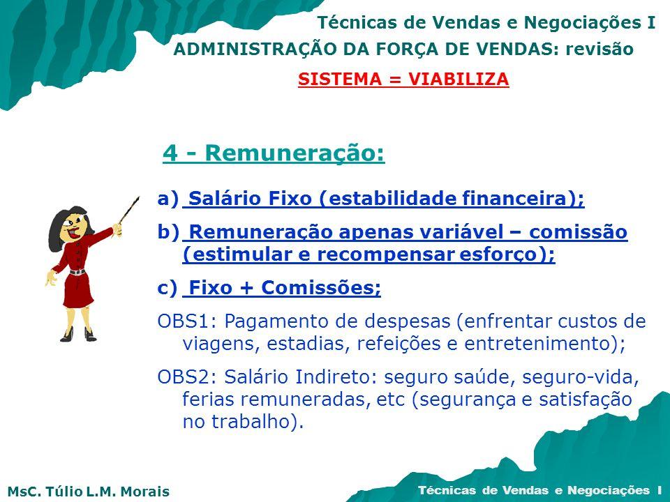 MsC. Túlio L.M. Morais Técnicas de Vendas e Negociações I ADMINISTRAÇÃO DA FORÇA DE VENDAS: revisão SISTEMA = VIABILIZA 4 - Remuneração: a) Salário Fi